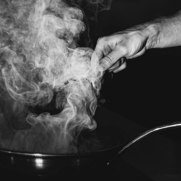 steam coming out of a frying pan